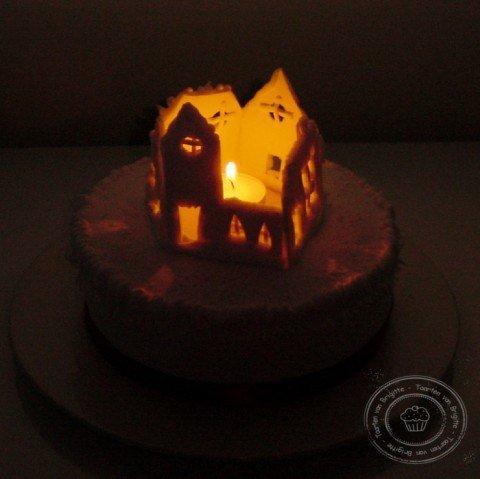 Kerstdorp in het donker
